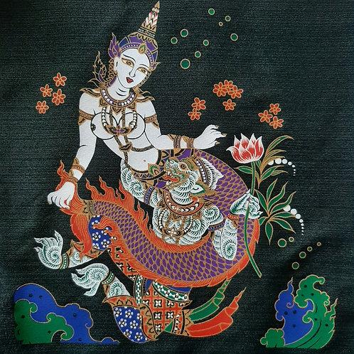 """Suvannamaccha Trap"" Thai Silk Print Painting"