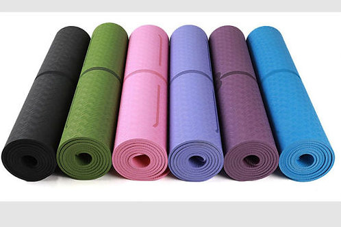 Eco-Friendly Monochrome Yoga Mat with Position Lines & Carry Bag