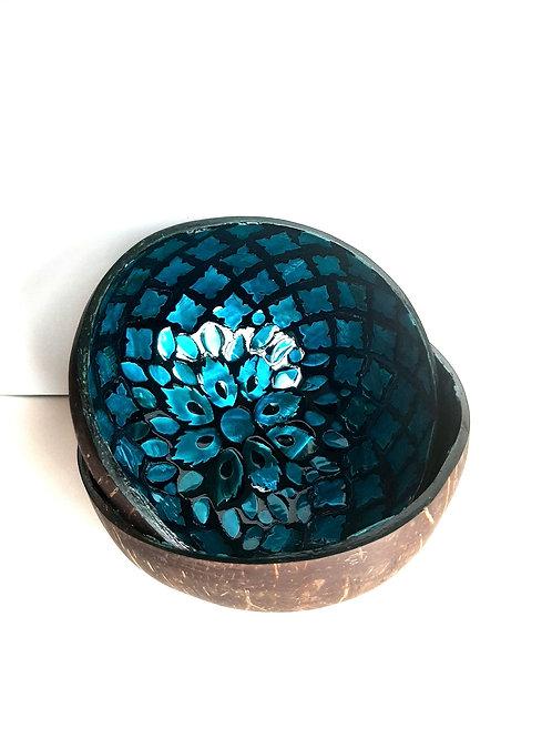 Blue Flower Coconut Bowl Set