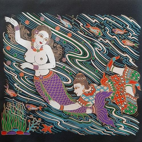 """Deity Galaxy"" Thai Silk Print Painting"