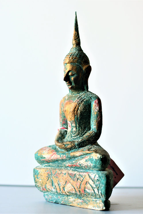 Blue & Gold Meditating Buddha Statue