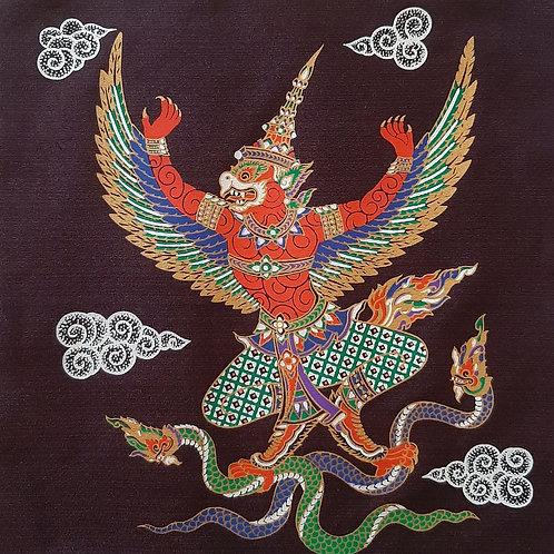 """Garuda Hanuman"" Thai Silk Print Painting"