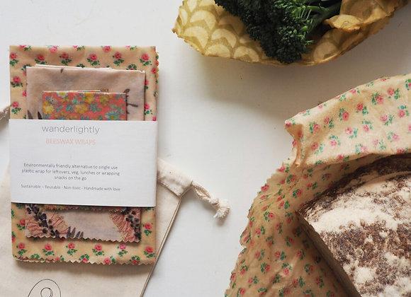 beeswax wrap set- 2 medium 1 large