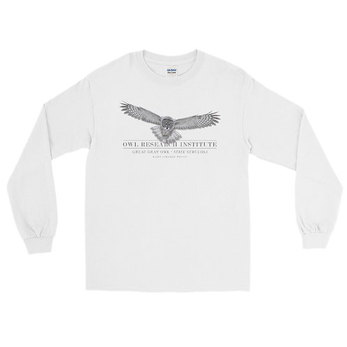 Men's Long Sleeve Shirt - Great Gray in flight
