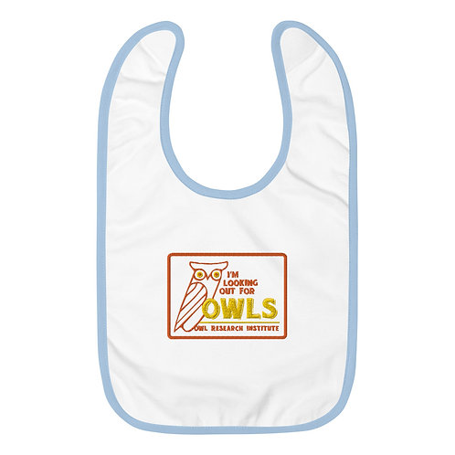 Embroidered Baby Bib - I'm Looking out for Owls