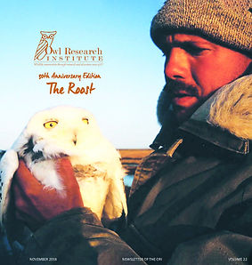 The Roost 2018 cover. A man holds a snowy owl.