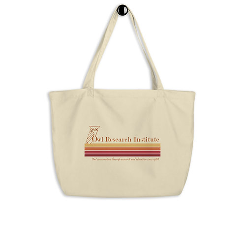 Large organic tote bag - retro logo stripe