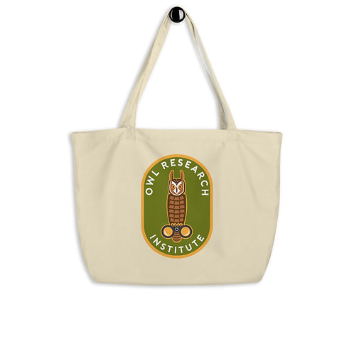 Large organic tote bag - graphic Long-eared Owl