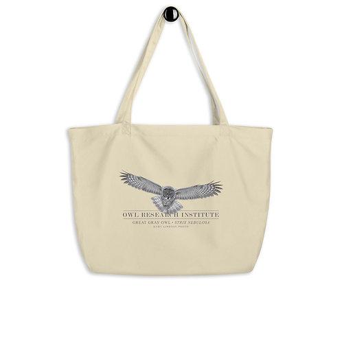 Large organic tote bag - Great Gray in flight