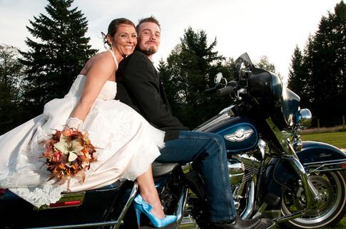 Fun bride and groom portrait