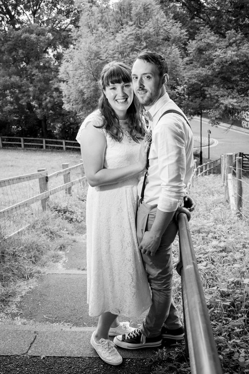 Black and white bride and groom portait