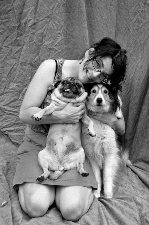 Woman with dogs portrait