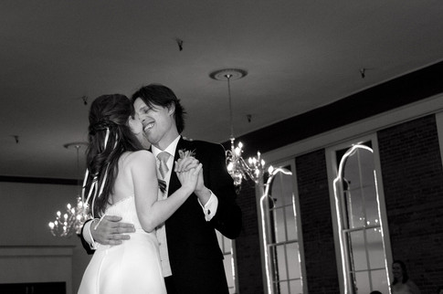 Black and white first dance wedding day photo