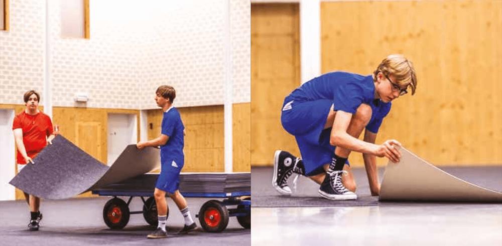 Arkojen lattiapintojen suojaus oppilastyönä nopeasti. Liikuntatilojen akustiikkakin paranee.