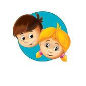 иллюстрация-малышей-кнопка-форма-иконы-в