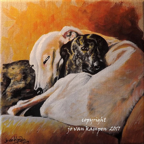 """""""Bliss"""", snoozing hounds, original painting."""