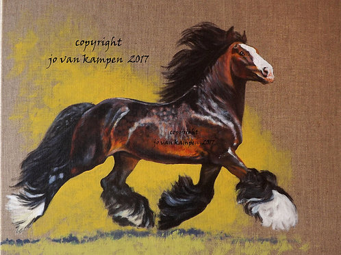 Trotting bay gypsy cob, original painting.