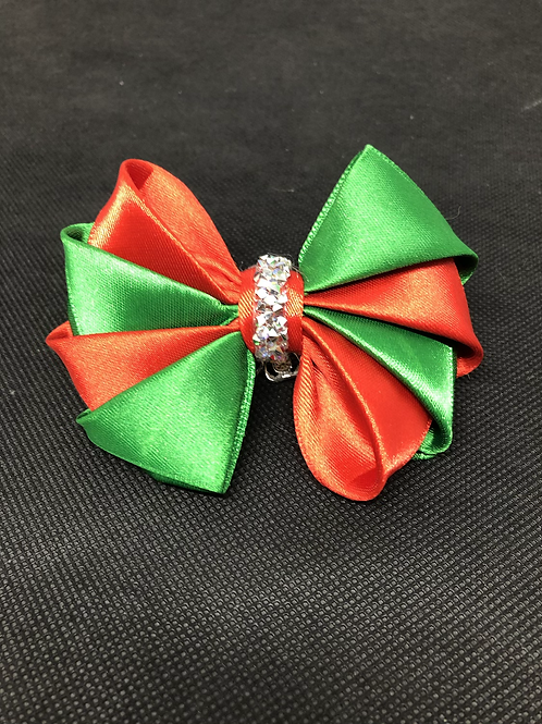Christmas Kanzashi Satin Bow Tie Large