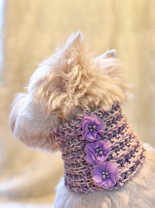 Lilac Hand Knitted Dog Snood