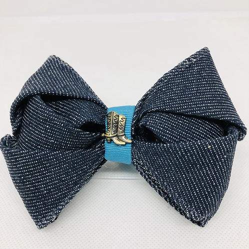 Denim Kanzashi Bow Tie