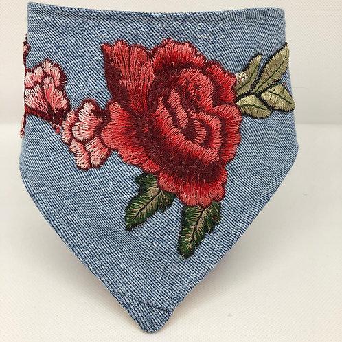Embroidered Rose Dog Bandana