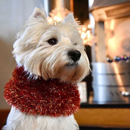 Sparkly Red and Gold Hand Knitted Dog Snood
