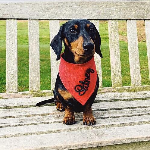 Embroidered Personalised Dog Bandana