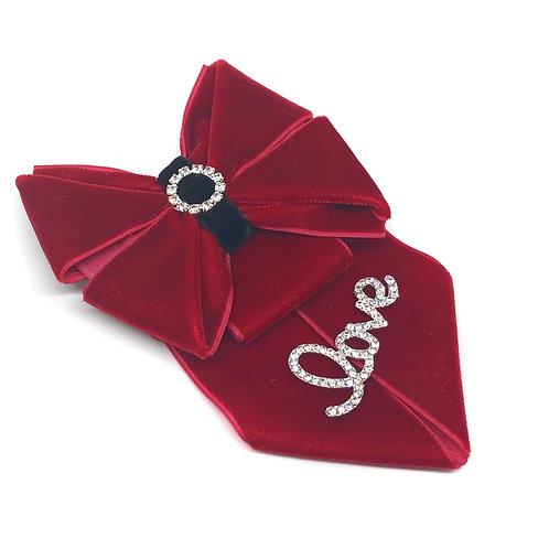 Velvet Kanzashi Valentine's Day Dog Bow Tie