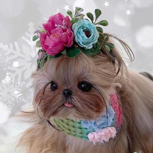 Rainbow Dog Snood with Fabric Flowers