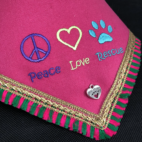 Peace Love Rescue Dog Bandana