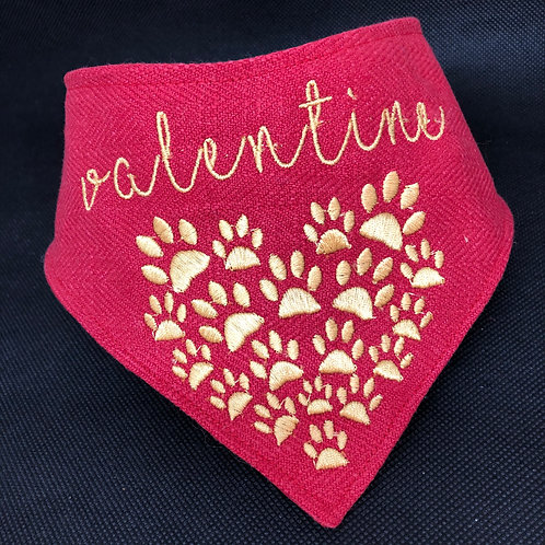 Valentine's Day Embroidered Dog Bandana