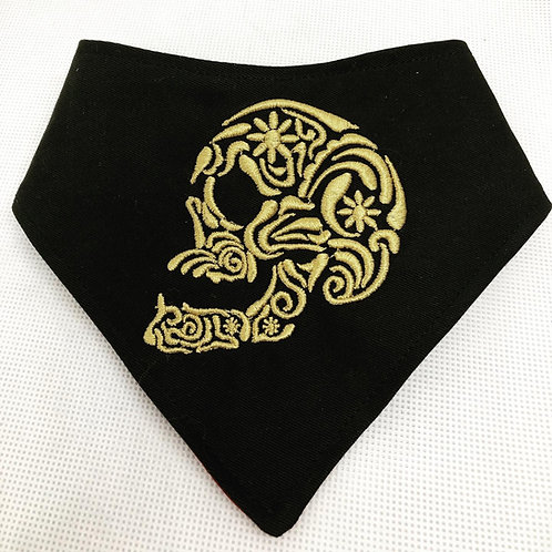 Embroidered Skull Dog Bandana