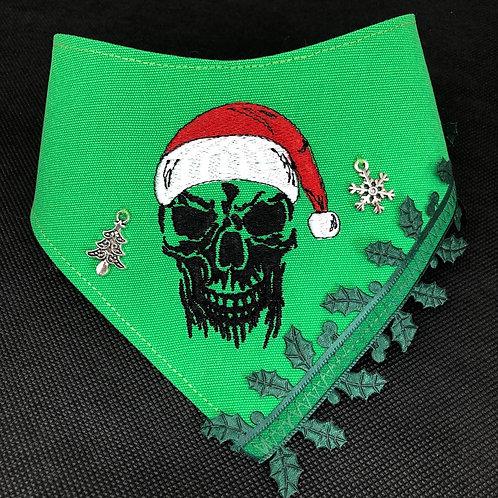 Santa Skull Christmas Dog Bandana