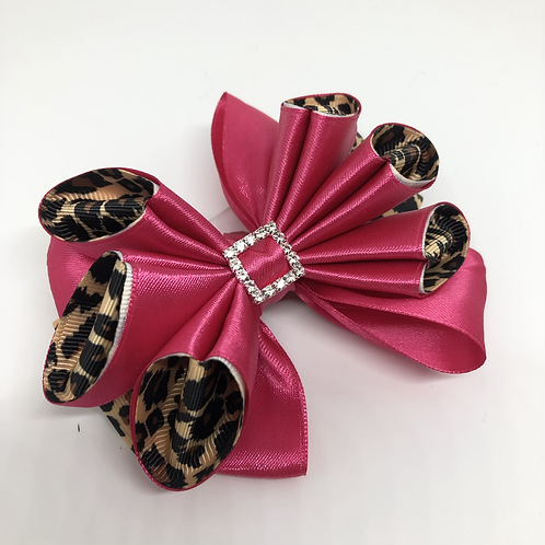 Fluted Animal Print Kanzashi Bow Tie