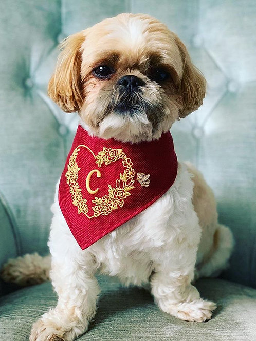 Embroidered Initial Dog Bandana