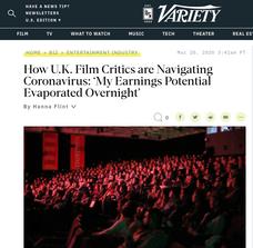 Variety - How UK Film Critics are Navigating Coronavirus