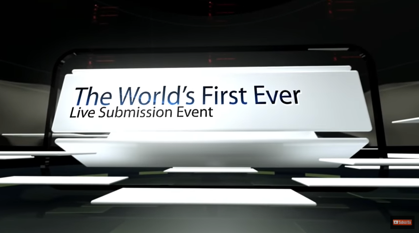 "A screenshot from Litopia's Pop Up Submission show featuring the words ""The World's First Ever Live Submission Event"""