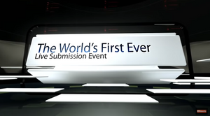 """A screenshot from Litopia's Pop Up Submission show featuring the words """"The World's First Ever Live Submission Event"""""""