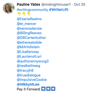 A writer lift post from Pauline Yates with a list of writers tagged.