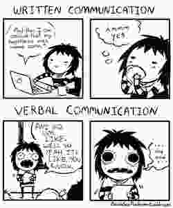 Sarah Anderson webcoming comparing the differences between her excellent written communication and poor verbal communication.