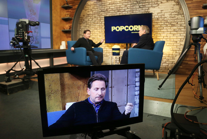 """Emilio Estevez appears on """"Popcorn With Peter Travers"""" and shares the story of his 12-year battle to get his newest film to the big screen. (James Okungu/ABC News)"""