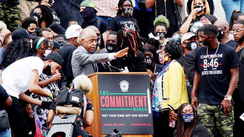 Rev. Al Sharpton addresses the crowd during The March on Washington, Aug., 28, 2020, Washington, D.C.