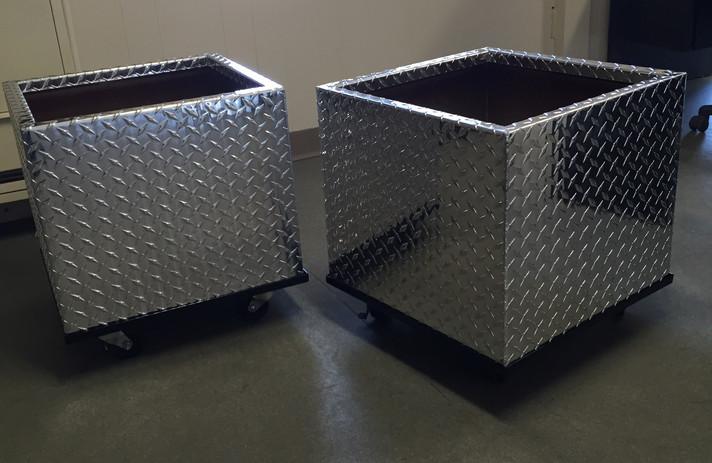Checker Plate Aluminum Flower Pots For A Local Mechanic Shop