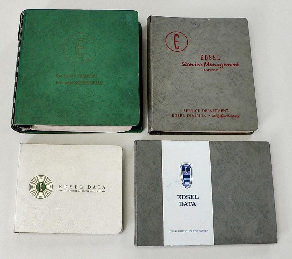 Upper left: Rare Edsel Dealers Training Program manual binder. Upper right: 1957 Sales Management manual binder. Lower left: 1957 Edsel Dealer's Data Manual. Lower right: 1958 Edsel Dealer's Data Manual.