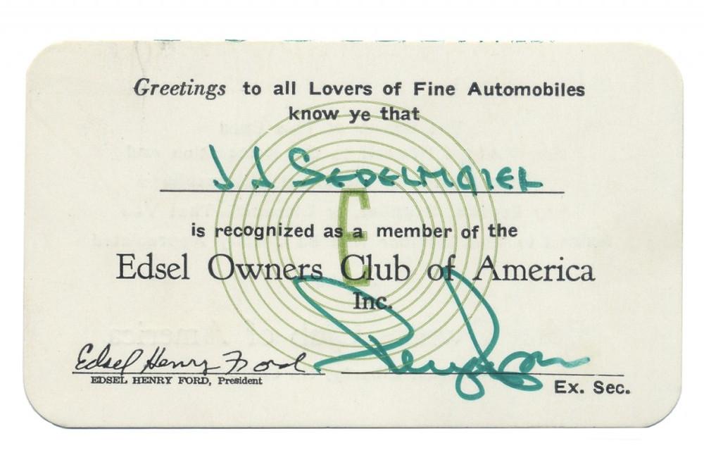 Edsel Owners Club membership card