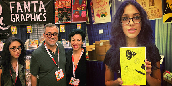 Natalia with dad and mom Gilbert and Carol and with her newest alt-comic.