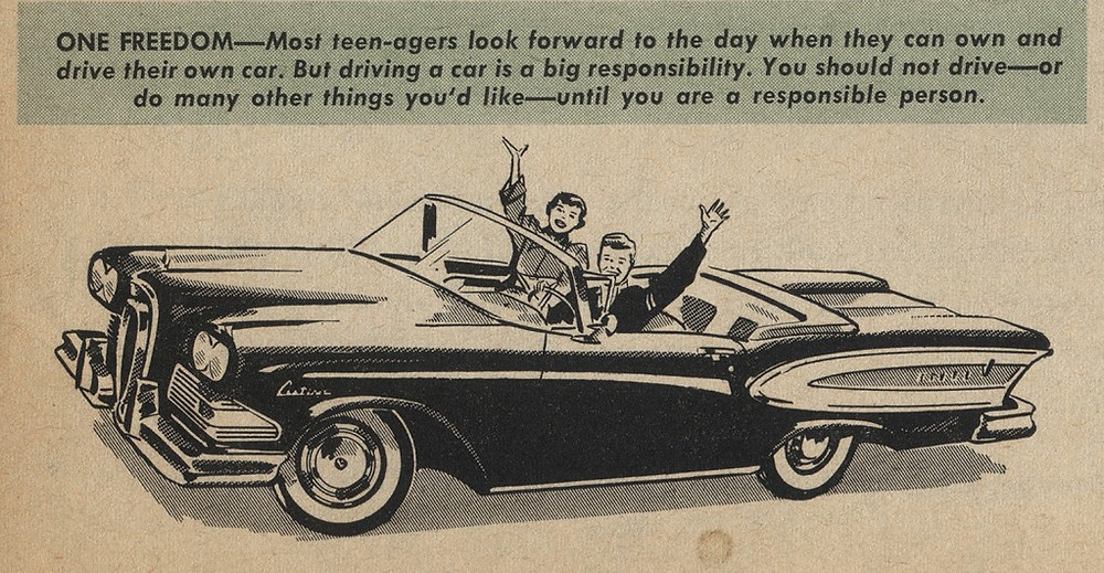 1950's magazine on driving behavior for high school students.