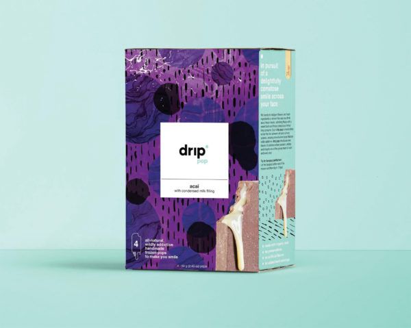drip pop Brand, Packaging + Splash Page