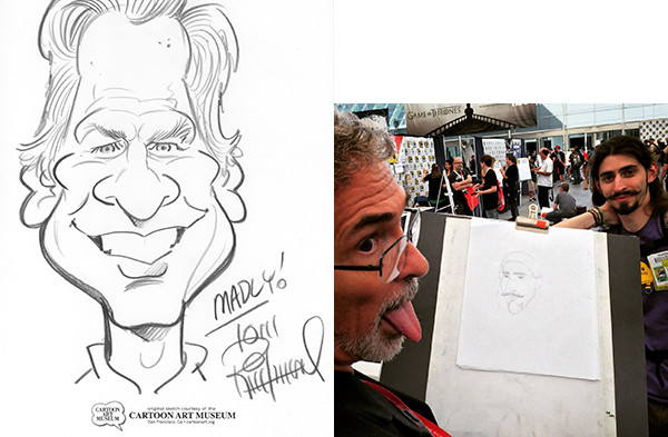Left, Tom's portrait of the author. Right: Dave gets his licks in.