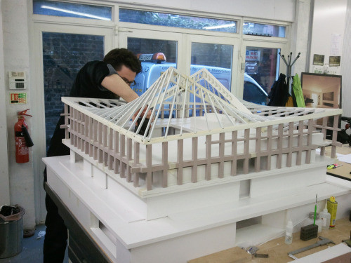 London's Design Museum modelmakers trying to recreate the complex hyperbolic paraboloid roof